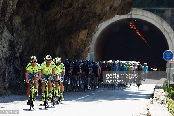 The Tinkoff team lead the peloton during stage 6 of the 2016 ParisNice a 177km stage from Nice to La Madone d'Utelle on March 12 2016 in Nice France