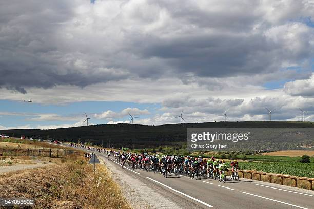 The Tinkoff team lead the peloton during stage eleven of the 2016 Le Tour de France, a 162.5 km stage from Carcassone to Montpellier on July 13, 2016...