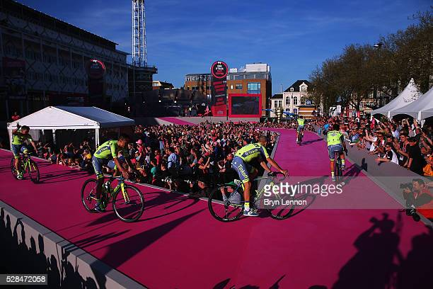 9bc496a0f The Tinkoff team ride onto the stage during the Opening Ceremony and  official Team Presentation for
