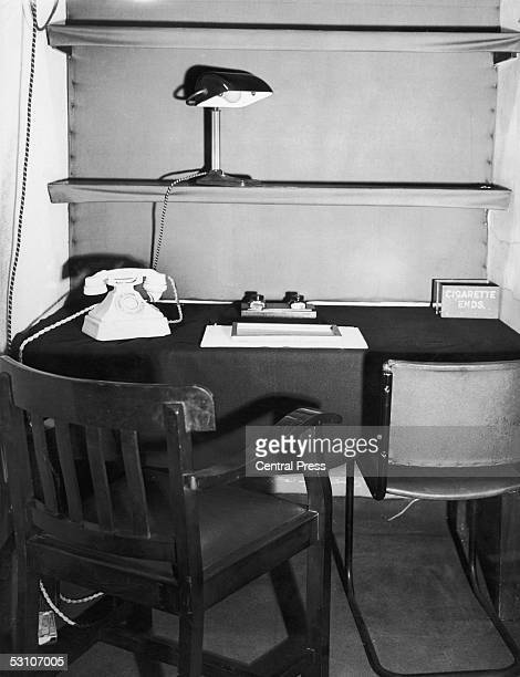 The tiny room, photographed in April 1946, in the British Cabinet War Rooms under Whitehall, London, which was used by British Prime Minister Winston...