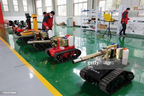 The tiny tank sterilizing robot come into use during the outbreak of novel coronavirus pneumonia on 01th March, 2020 in Huaibei, Anhui,China.