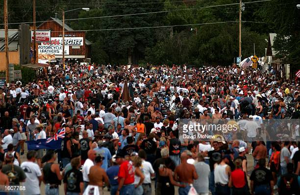 The tiny town of Hulett WY is overun by thousands of cyclists from the 61st annual Sturgis Motorcycle Rally August 8 held in Sturgis SD