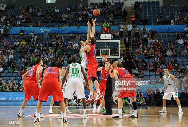 The tip off is performed to commence the Turkish Airlines EuroLeague Final Four Semi Final match between CSKA Moscow and Panathinaikos Athens at the...