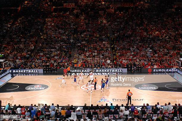 The tip off of the match between Sofoklis Schortsanitis of Olympiacos and Boniface Ndong of Barcelona in action during the Euroleague Basketball...