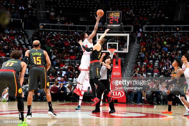 The tipoff between the Chicago Bulls and the Atlanta Hawks on October 27 2018 at State Farm Arena in Atlanta Georgia NOTE TO USER User expressly...