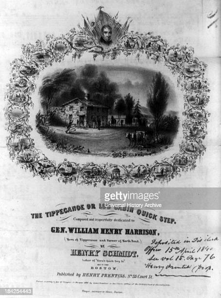 The Tippecanoe or log cabin quick step by John H Bufford Circa 1840 Lithograph print produced as a sheet music cover for a melody composed by Henry...