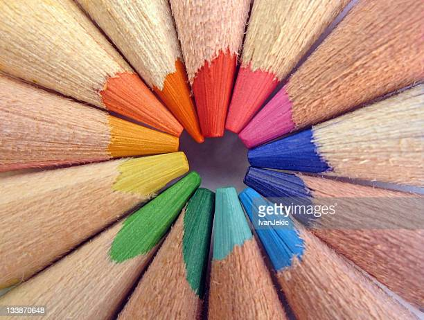 The tips of colored pencils - macro