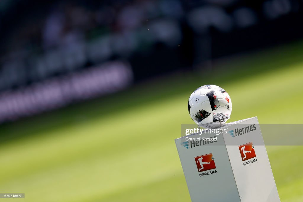 The Tirfabrik ball is seen prior to the Bundesliga match between Borussia Moenchengladbach and FC Augsburg at Borussia-Park on May 6, 2017 in Moenchengladbach, Germany.
