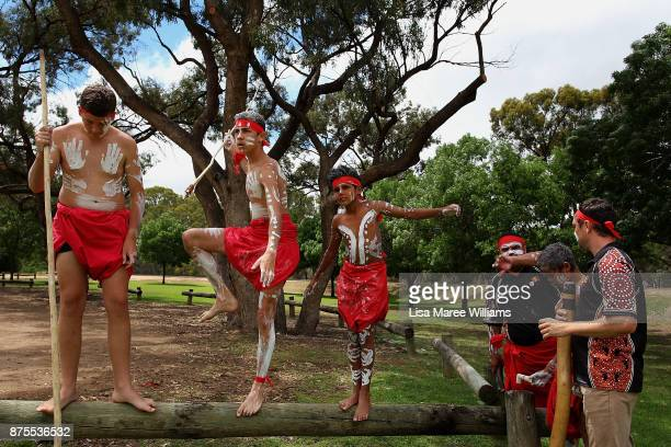 The Tirkandi Inaburra Indigenous dancers await the arrival of Mungo Man during a welcome back to country ceremony on November 17 2017 in Hay...