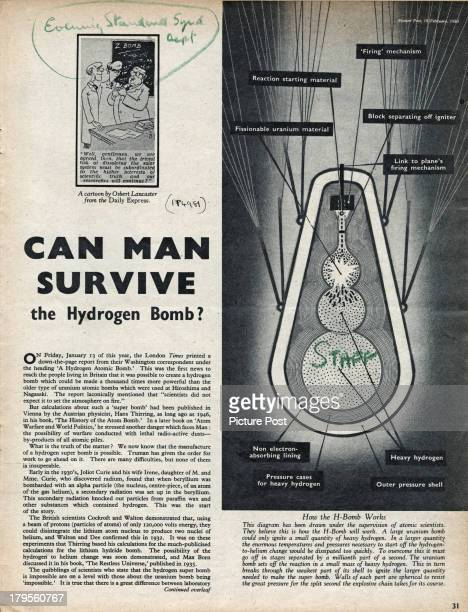 The title page of a Picture Post magazine article by Derek Wragge Morley entitled 'Can Man Survive The Hydrogen Bomb' February 1950 The article...