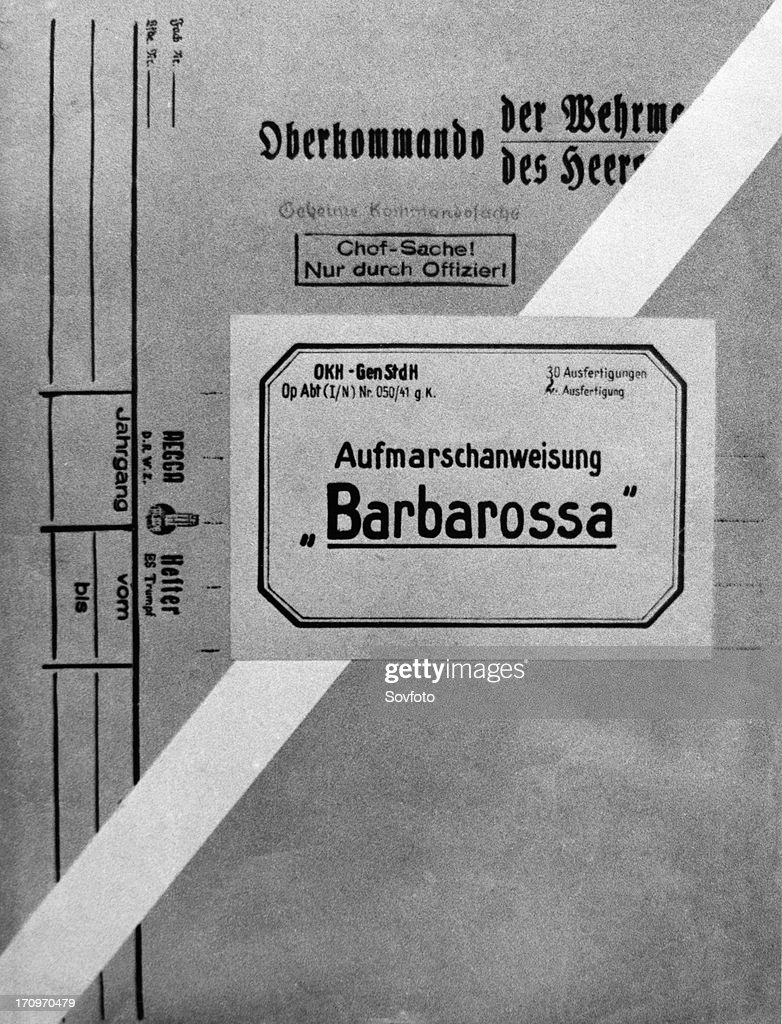 The title page of the document folder with the 'barbarossa' plan, i,e, of the attack on the soviet union on june 22, 1941. : News Photo