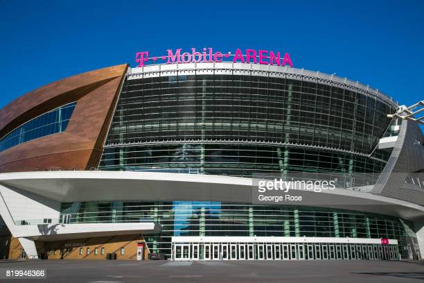 The TMobile Arena located adjacent to the Monte Carlo Hotel Casino is viewed on July 14 2017 in Las Vegas Nevada Despite record temperatures tens of...