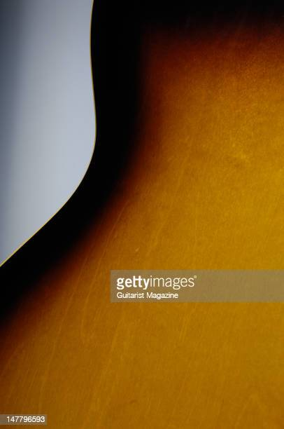 The tobacco sunburts finish of a Gibson 2008 '58 ES335 electric guitar during a studio shoot for Guitarist Magazine/Future via Getty Images October...