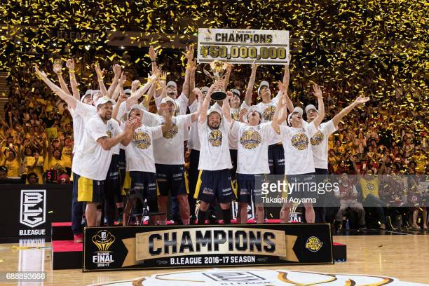 The Tochigi Brex celebrate after winning BLeague Championship in the B League final match between Kawasaki Brave Thunders and Tochigi Brex at Yoyogi...