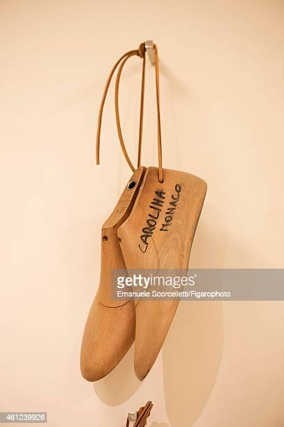 The Tod's factory is photographed for Le Figaro Magazine on July 29, 2014 in Casette d'Ete, Italy. Princess Carolina of Monaco's shoe forms....