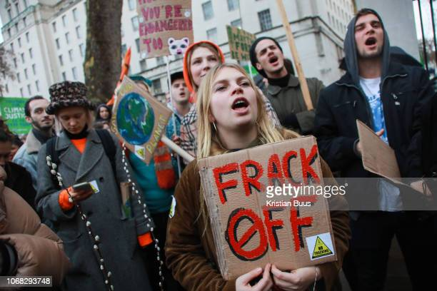 The Together for Climate Justice march and demonstration on December 1st 2018 in London United Kingdom Thousands gathered to protest that the...