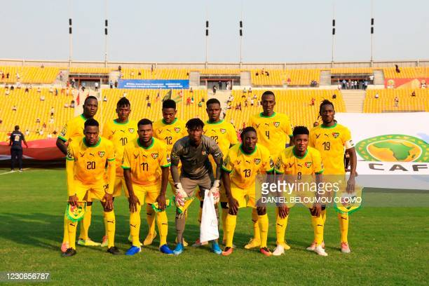 The Togo team pose for a portrait ahead of the African Nations Championships football match between Morocco and Togo at Stade de Reunification in...
