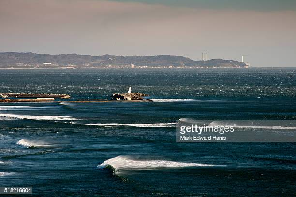 The Tohoku coastline with the Fukushima Daiichi Nuclear Power Plant in the distance