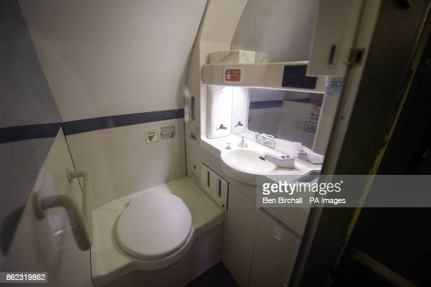 The toilet in Concorde 216 the last aircraft of its type to be built and which made the fleet's final flight at the British Aerospace site in Filton...