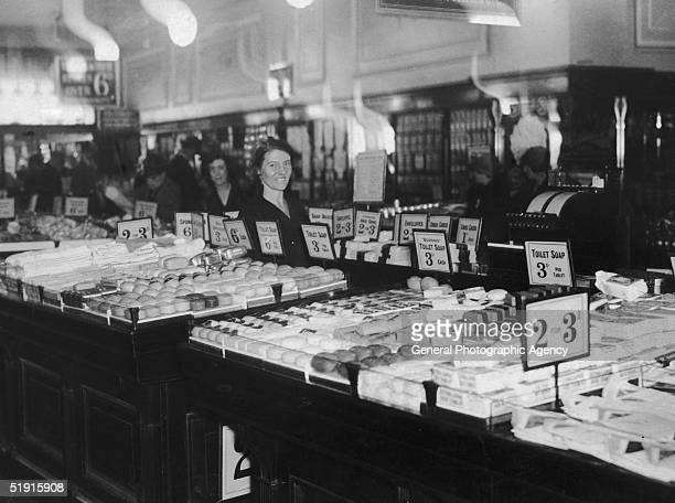 The toiletries department in a Woolworths store circa 1928