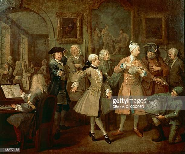 The toilette, by William Hogarth , from the series A rake's progress. ; London, Sir John Soane'S Museum.