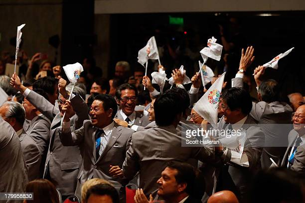 The Tokyo 2020 bid delegation celebrate as Tokyo is awarded the 2020 Summer Olympic Games during the 125th IOC Session - 2020 Olympics Host City...