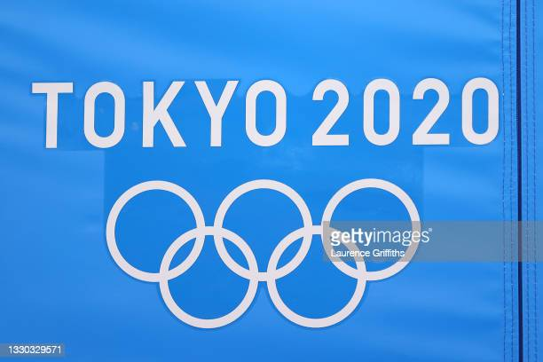 The Tokyo 2020 logo is seen during Men's Qualification on day one of the Tokyo 2020 Olympic Games at Ariake Gymnastics Centre on July 24, 2021 in...