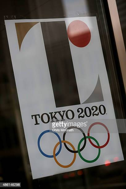 The Tokyo 2020 Olympic logo is seen on a poster hung at the entrance of the Tokyo Metropolitan Government Office building on September 1, 2015 in...