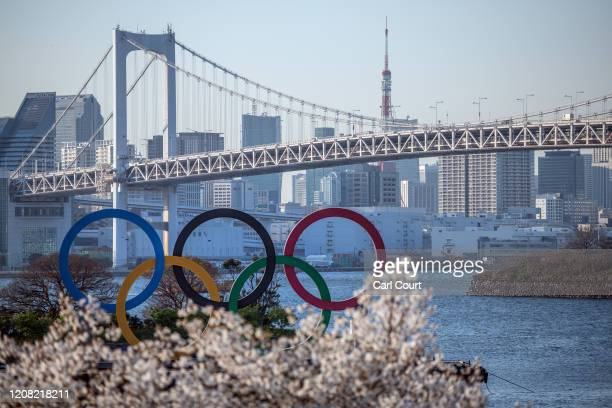 The Tokyo 2020 Olympic Rings are displayed on March 25, 2020 in Tokyo, Japan. Following yesterdays announcement that the Tokyo 2020 Olympics will be...
