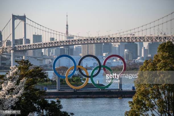 The Tokyo 2020 Olympic Rings are displayed on March 25 2020 in Tokyo Japan Following yesterdays announcement that the Tokyo 2020 Olympics will be...