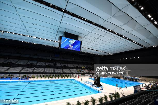 The Tokyo Aquatics Centre, venue for the Tokyo 2020 Olympic and Paralympic games for swimming and diving competitions is pictured during the FINA...