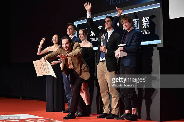 The Tokyo Garandprix winner the movie 'Heaven Knows What' directors Joshua Safdie Benny Safdie and casts attends the closing ceremony of the 27th...