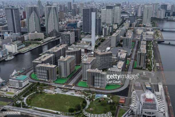 The Tokyo Olympics athletes village is pictured from a helicopter on June 26, 2021 in Tokyo, Japan. With less than one month to go before the start...