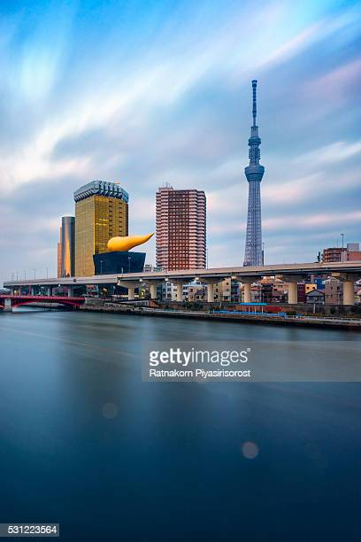 The Tokyo skyline with a sumida river