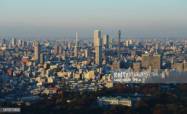 The Tokyo skyline with Akasaka Palace in the foreground on December 2 2012 in Tokyo Japan