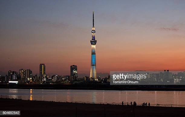 The Tokyo SkyTree stands behind the Arakawa river at dusk January 9 2016 in Tokyo Japan