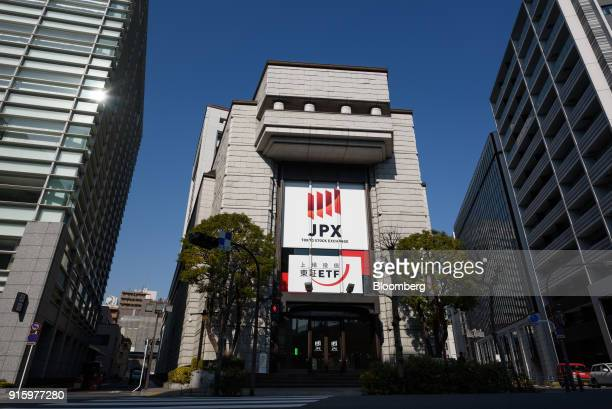 The Tokyo Stock Exchange building, operated by Japan Exchange Group Inc. , stands in Tokyo, Japan, on Friday, Feb. 9, 2018. The Topix index headed...