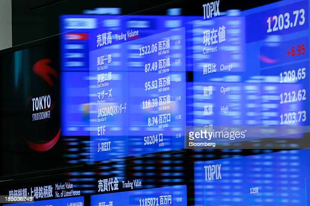 The Tokyo Stock Exchange logo left is displayed alongside stock figures on an electronic stock board at the bourse in Tokyo Japan on Thursday Oct 17...