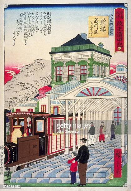 The Tokyo terminus of the new TokyoYokohama railway built in 1872 with the aid of foreign engineers From a series called Famous Places on the Tokaido...