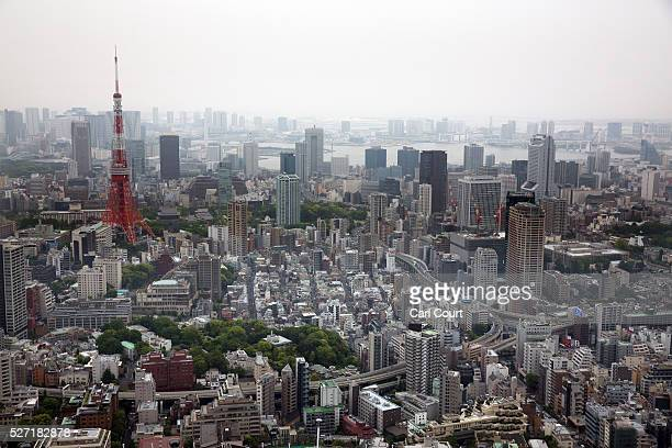 The Tokyo Tower is pictured from the top of the Roppongi Hills Mori Tower on May 02 2016 in the Roppongi area of Tokyo Japan The Greater Tokyo Area...