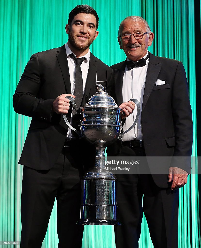 The Tom French Memorial Maori Player of the Year Nehe Milner-Skudder with Tana Norton during the 2015 Steinlager Rugby Awards on December 11, 2015 in Auckland, New Zealand.