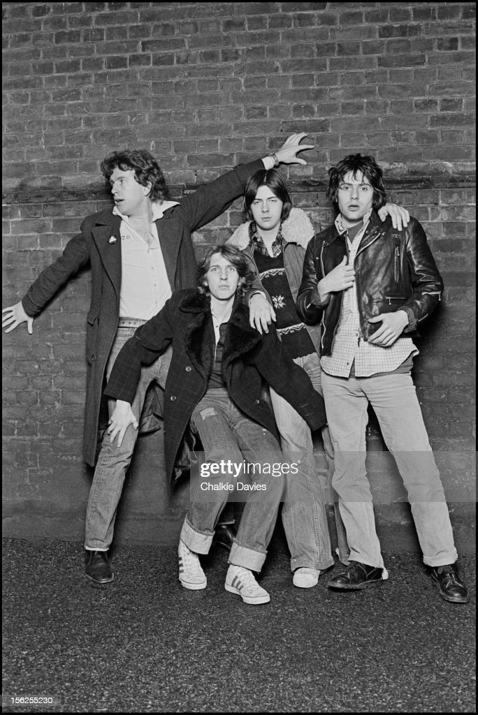 The Tom Robinson Band imitate the sleeve of Wing's 'Band on the Run' LP sleeve to promote their EP 'Rising Free', which features one of their best known songs, 'Glad To Be Gay', London, 1977. Singer-songwriter Tom Robinson is at far left.