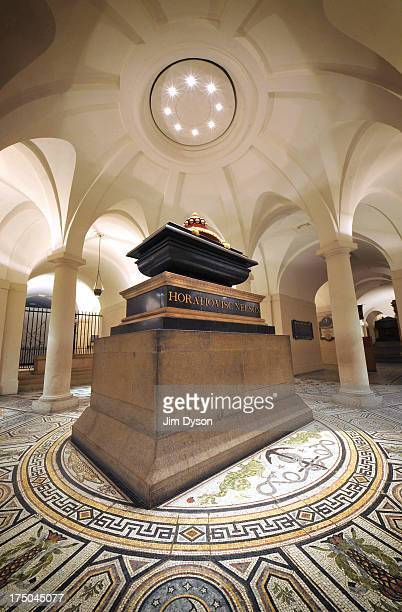 The tomb of Admiral HORATIO NELSON in the crypt of St Pauls Cathedral on January 23 2013 in London England Dead Famous London is a journey through...