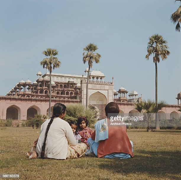 The Tomb of Akbar the Great a Mughal mausoleum in Sikandra Agra India circa 1965