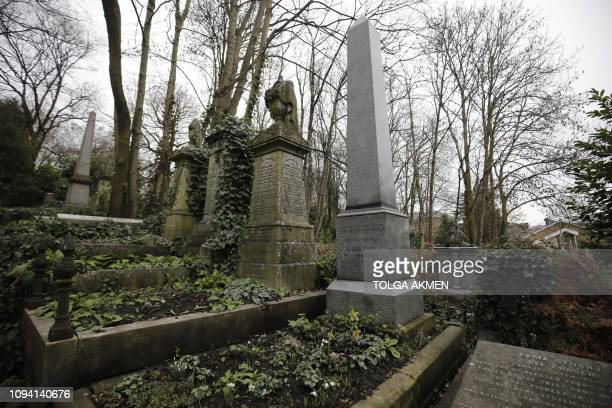 The tomb of British novelist Mary Anne Evans published under the pen name George Eliot a leading English Victorian writer and author of 'Middlemarch'...