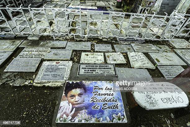The tomb of child Omaira Sanchez killed in the disaster in the place she died in the town of Armero Tolima department Colombia on November 5 2015...