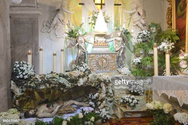 The tomb of Christ in St Andrew's Church in Krakow On Good Friday as every year the tombs of the Lord were unveiled in all the churches A Holy...