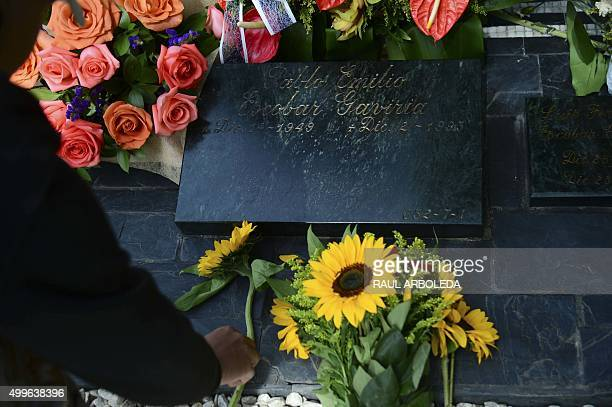 The tomb of Colombian drug lord Pablo Escobar at the Montesacro cemetery in Medellin, Antioquia department, Colombia on December 2, 2015. 22 years...
