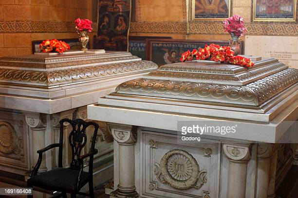 The tomb of Emperor Menelik II of Ethiopia The tomb on its right contains the remains of Empress Taitu his wife