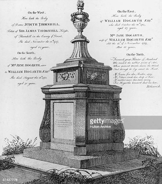 The tomb of English painter and engraver William Hogarth in Chiswick west London, circa 1795.